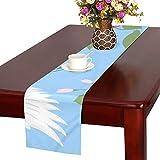 LKCDNG テーブルランナー ブルー すてき 和風のつる クロス 食卓カバー 麻綿製 欧米 おしゃれ 16 Inch X 72 Inch (40cm X 182cm) キッチン ダイニング ホーム デコレーション モダン リビング 洗える