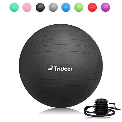 Trideer バランスボール 55 65 75 cm (ブラック, 55 cm)