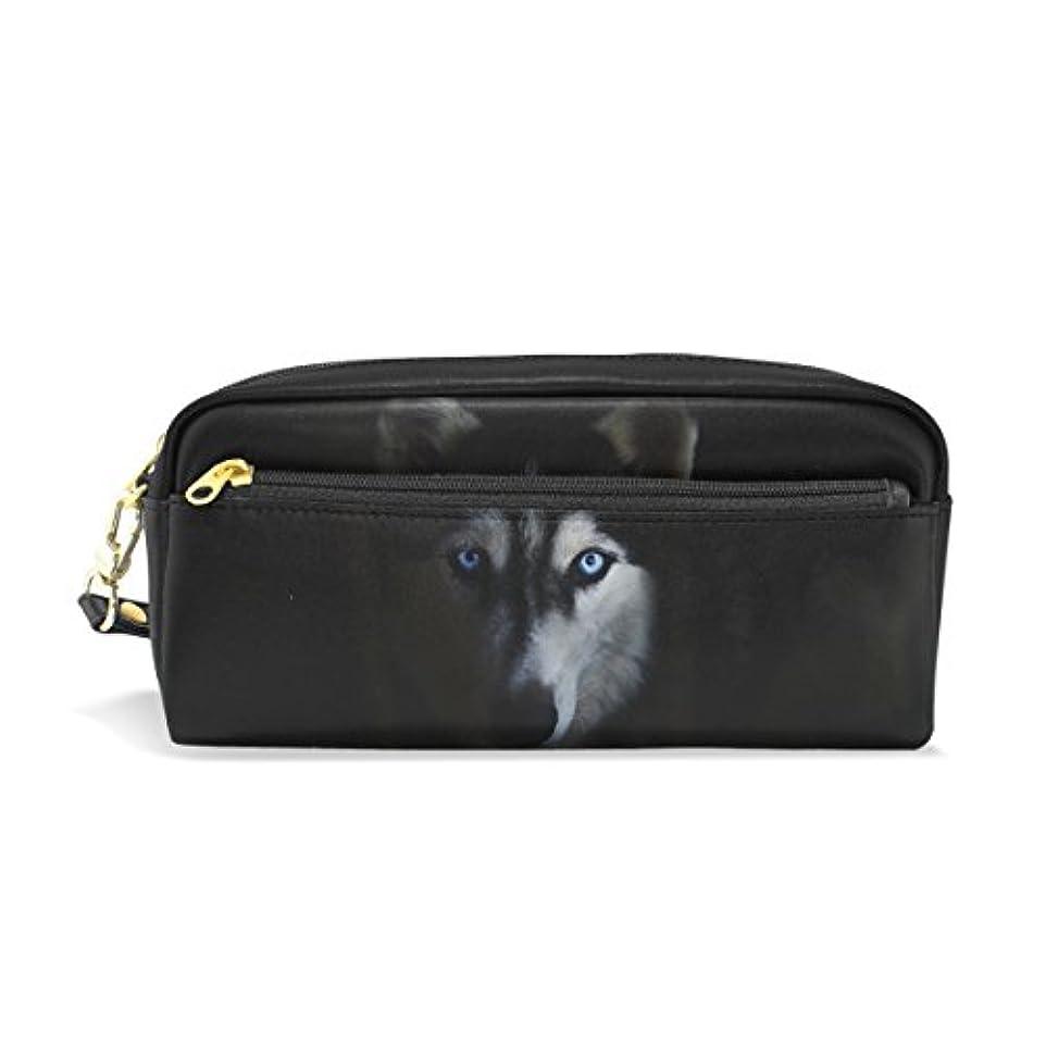 がっかりした徴収コンソールAOMOKI ペンケース 化粧ポーチ 小物入り 多機能バッグ レディース ハスキー かっこいい 犬