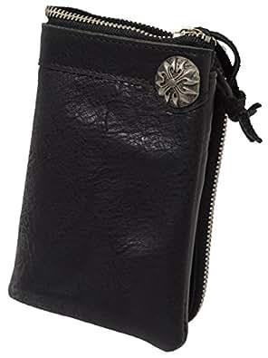 (ラファエロ) Raffaello 一流の革職人が作る コンチョ付き二つ折財布 ウォレット 本牛革(ブラック)