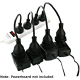 4 Pack Space Saver Short Extension Leads Cords for Powerboard Power Board PBSS4
