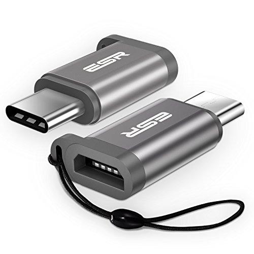 USB Type C 変換 【OTG 対応 2枚セット】ESR USB-C & Micro USB 変換 アダプタ 【紛失防止収納ストラップ付】 Nintendo Switch / MacBook Pro / Xperia XZ / Moto Z / Galaxy S8 / HUAWEI P9 / Nexus 5X / ノートパソコン 他対応 (テクニックグレー)