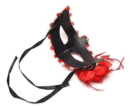 EQLEF マスク 仮面 舞踏会 仮装 演劇 お芝居 ベネチア 赤いバラ