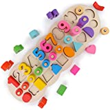 木のおもちゃクロック 積み木 形合わせ はめ込み ブロック パズル 幾何認識 数字認識 図形勉強 知育玩具