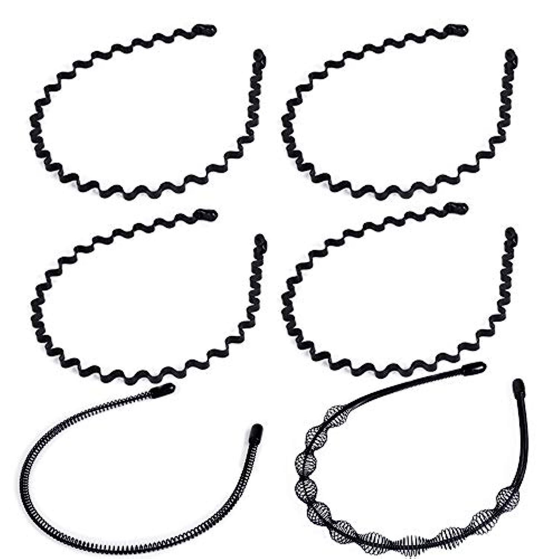 6本セット カチューシャ ゴムストッパー付き 波型 コイルヘアバンド シンプル メンズ レディース 男女兼用 使いやすさ抜群 髪留め ウェーブ