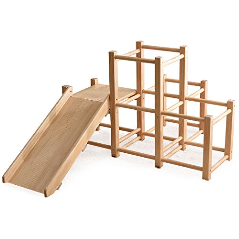 タンスのゲン 現役ママが考えた ジャングルジム [ すべり台付き ] 木製 室内 天然木 パイン材 オール角丸仕上げ 軽量 頑丈 耐荷重:約50kg ナチュラル 30500008 NA