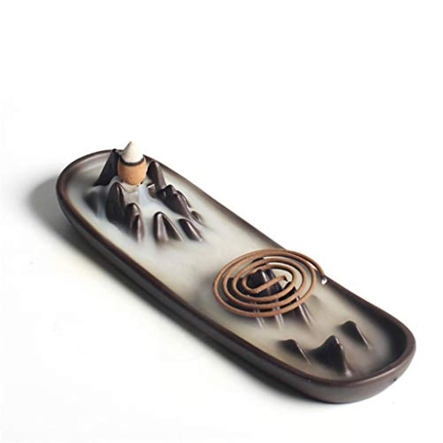 粒巨大な咲くホームアロマバーナー 逆流香バーナー家の装飾セラミックアロマセラピー仏教の滝香炉香コイルスティックホルダー 芳香器アロマバーナー (Color : A)