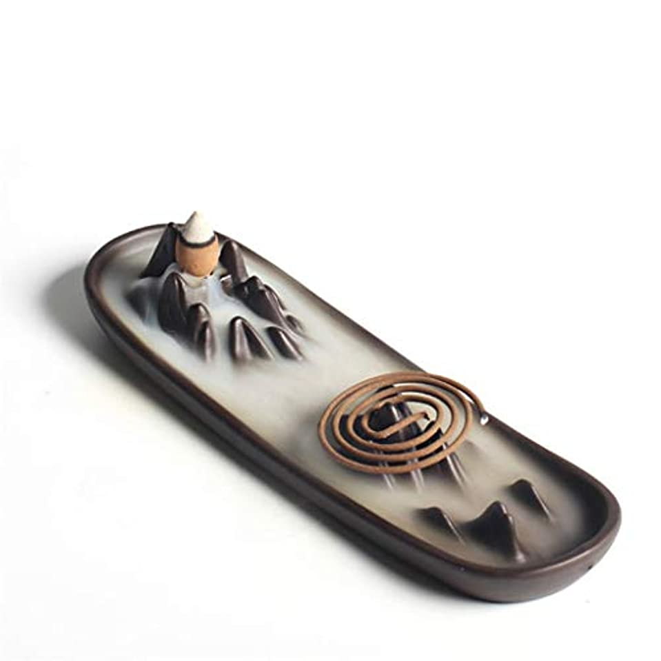 ダム強いますペナルティホームアロマバーナー 逆流香バーナー家の装飾セラミックアロマセラピー仏教の滝香炉香コイルスティックホルダー 芳香器アロマバーナー (Color : A)
