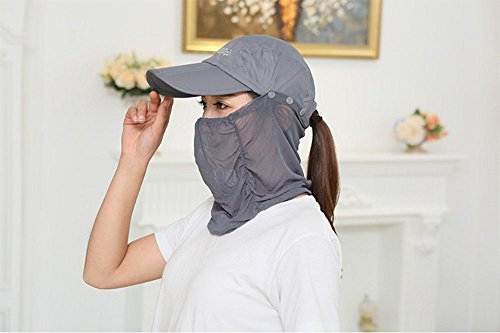 日焼け防止帽子 紫外線 カット UV 帽子 レディース フェイスマスク 日よけフェイスカバー 2WAY 折り畳み可能 ゴルフカップ 2点セット (グレー)