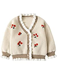 453db36c4d627 ZooArts ベビー ニット セーター 女の子 カーディガン ジャケット 秋冬 かわいい 花の刺繍 Vネック トップス 長袖