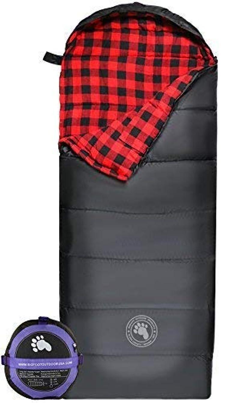 作業摩擦またねBigfoot Outdoor Products Lumberjack XL Envelope Sleeping Bag 450GSM - Red Flannel [並行輸入品]