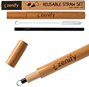 Zenify Reusable Metal Straw Black with Wooden Case + Cleaner - 1x 18cm 8mm Stainless Steel Smoothie Drinking Straws Gift Set