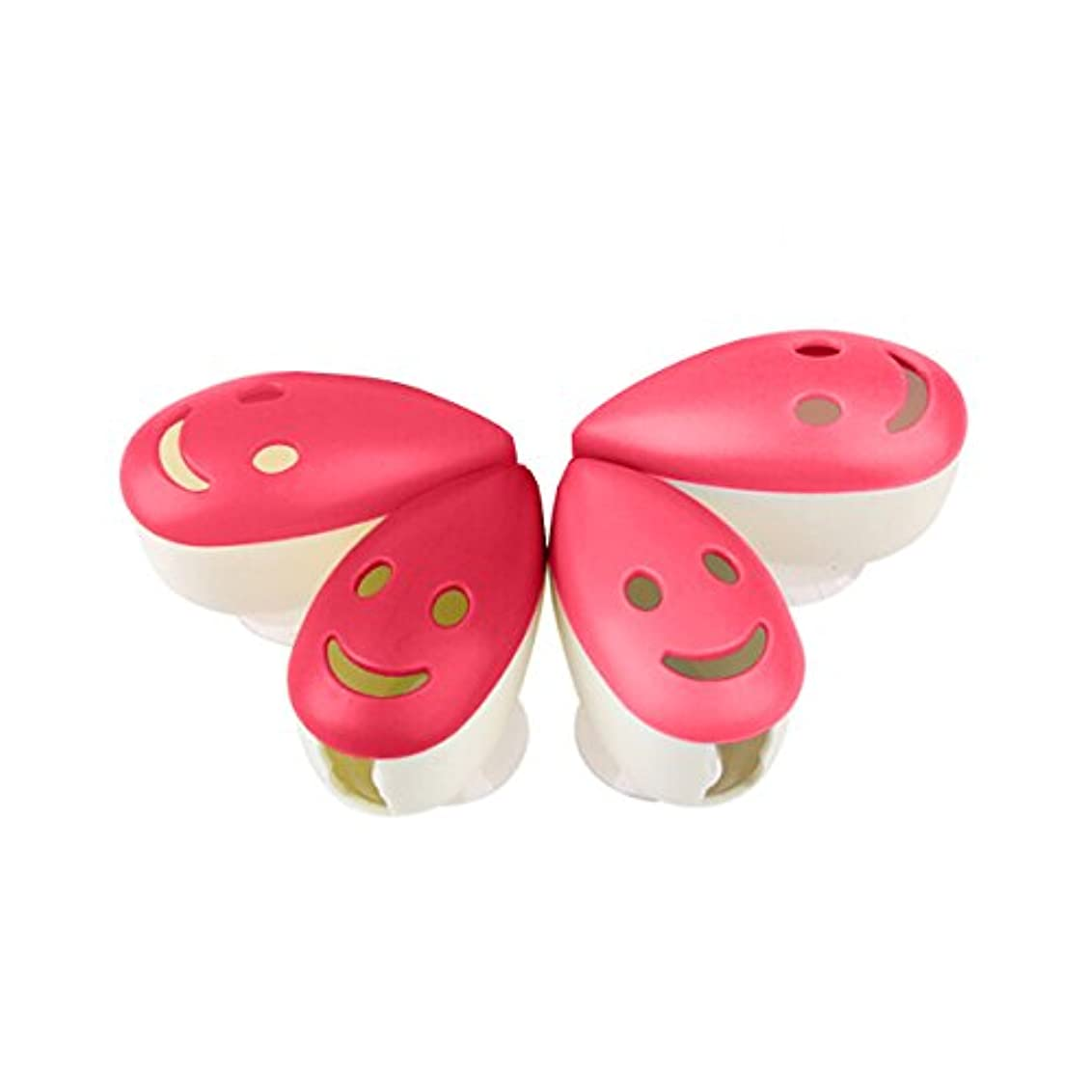 タイプジャム温帯ROSENICE 歯ブラシケース4個のスマイルフェイス抗菌歯ブラシホルダーサクションカップ(混合色)