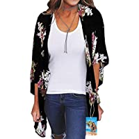 YULOONG Women Fashion Swimwear Cover Up Chiffon Floral Print Kimono Loose Shawl Cardigan Summer Blouse Swimwear Capes