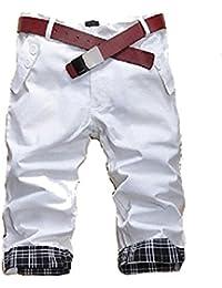 (NAIL39) チェック ハーフパンツ メンズ カーゴパンツ チノパン ストリート ミディアム 七分丈 ゴルフウェア 短パン