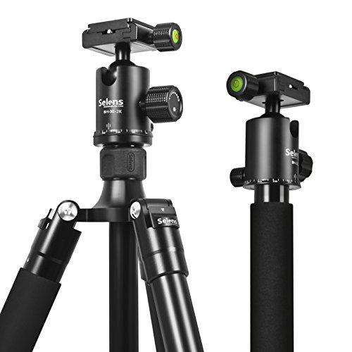 Selens 三脚 一脚 ボール雲台キット 4段 携帯便利 コンパクト 中心軸反転可能 カメラ用 黒