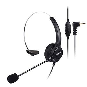 AGPtEK ハンドフリー*コールセンター用ヘッドセット 片耳式 ノイズキャンセルマイク付き 電話機対応 業務用ヘッドセット (2.5mm)