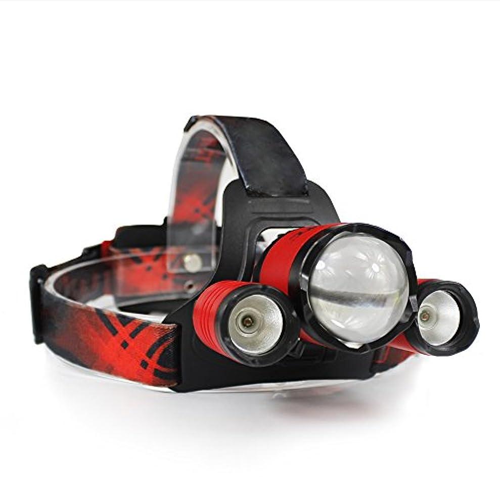 スプレー農夫目の前のNanle 防水Zoomableヘッドランプ5000ルーメンブライトLEDレッドヘッドフラッシュライトハイキング、キャンプ、ランニングのための4つのモードLEDヘッドライト (色 : Red)