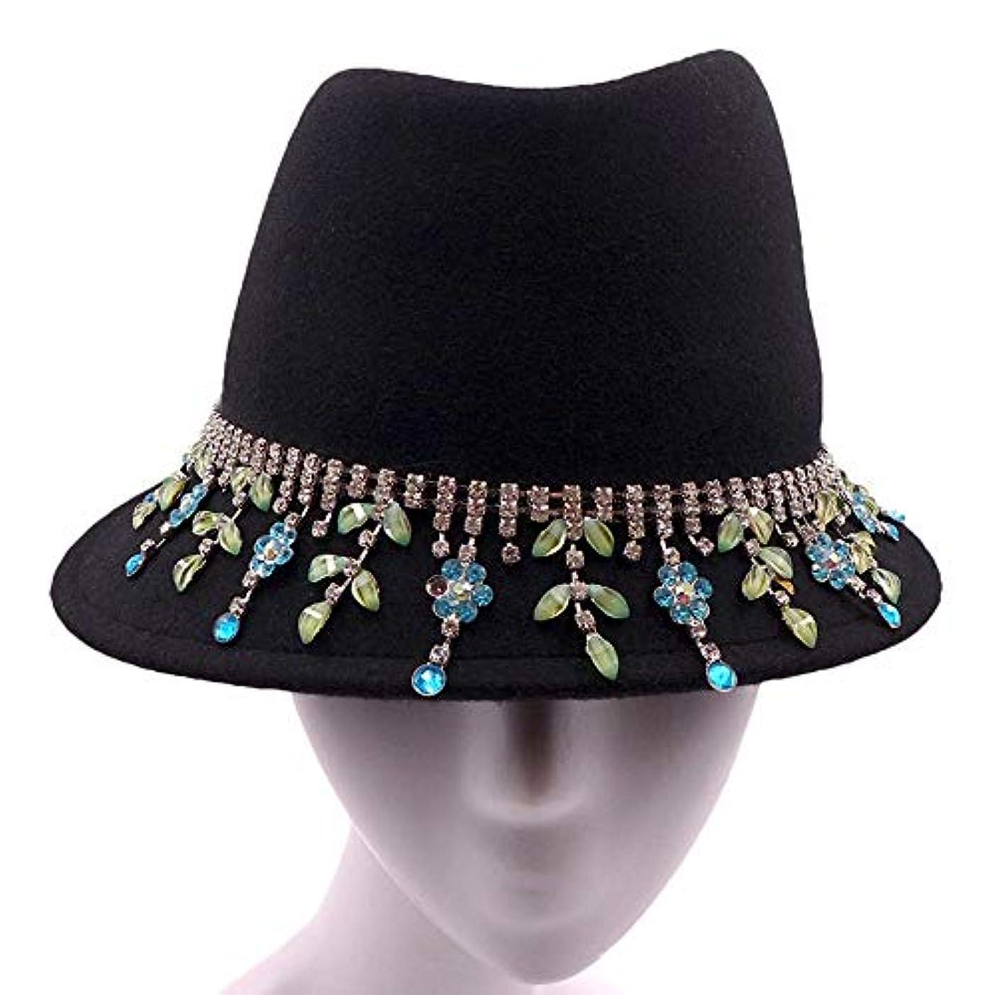 失う採用するタバコ優雅な 秋と冬のファッション暖かい帽子創造房のダイヤモンドチェーンの装飾ウールキャップ帽子ミスガオドゥアン(56-58CM)