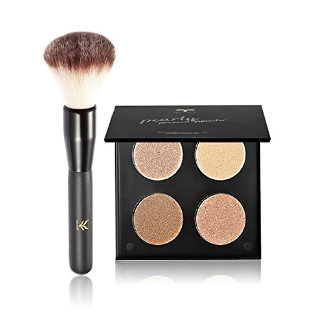 大胆不敵邪魔するくぼみ4 Colors Highlight Pressed Powder Pallete with Blush Makeup Brush Contour Shadow Powder Makeup Pallete Kit Cosmetic