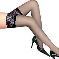 Women's Thigh High Silk Stockings/Hold-Up Silicone Socks Lace Top Sheer Sock Thigh High Hold-Up Stockings,Black,1 Pair