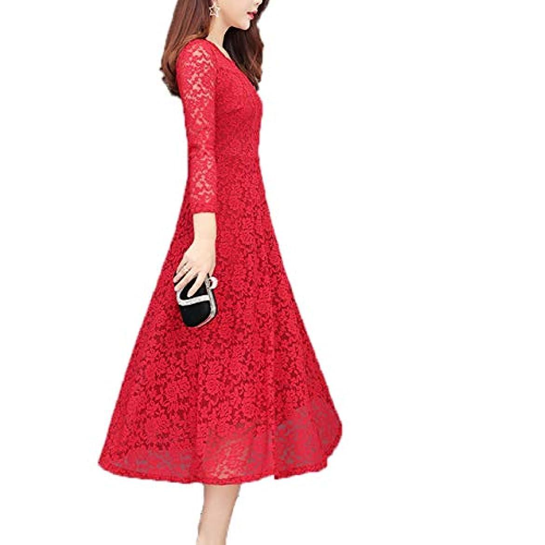 味方定常機会[ココチエ] ワンピース ドレス 黒 赤 リボン フレア Aライン ロング 長袖 膝丈 レトロ クラシック