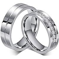 brave リング メンズ レディースカップルリング ペア指輪 ステンレス ファッション アクセサリー 婚約 結婚式 (レディース, 17)