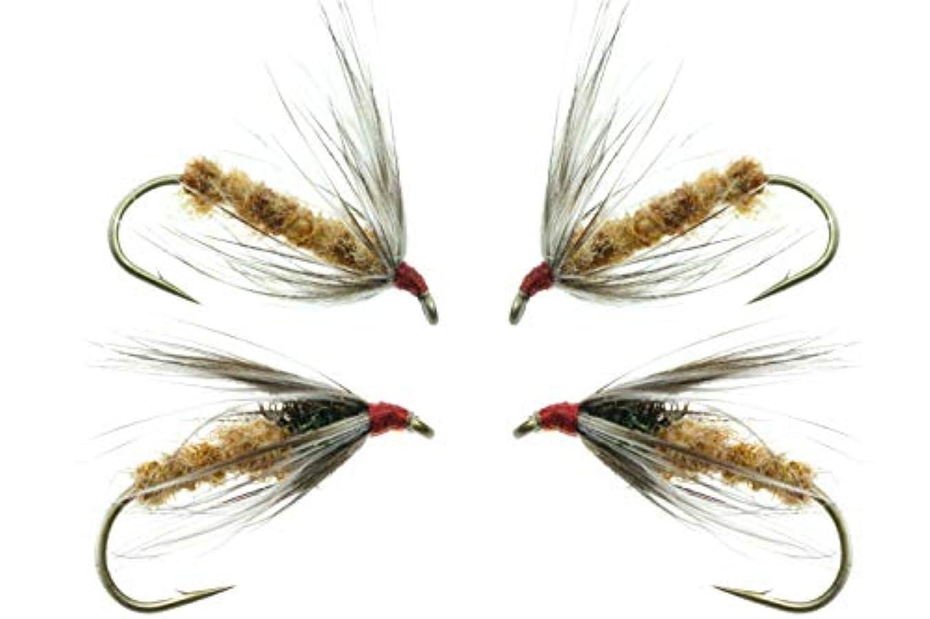 聖歌大陸案件GoFly 純国産 伝承毛鉤 爆釣 テンカラ ゼンマイ胴毛ばり 2種4本セット #14 ヘンネック(雌鳥)