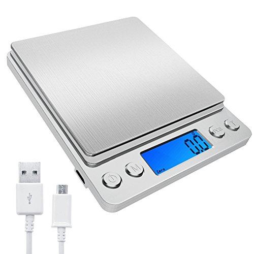 デジタルクッキングスケール キッチンスケール付 USB充電式 風袋引き機能 オートオフ機能 個数計算機能付き 多用途超小型 シルバー電子スケール クッキングスケール 超高精度電子はかり デジタルスケール 計量範0.1gから3000g