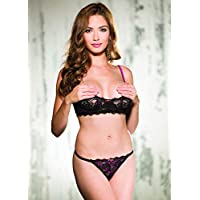 c86844c84a Shirley of Hollywood New Lace and Contrast Boning Shelf Bra Set - Lingerie
