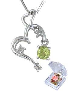 ジュエリーコトブキ 揺れる 8月 誕生石 ペリドット ハート ペンダント ダイヤモンド ネックレス K18WG (お花 ケース付 ギフトセット )