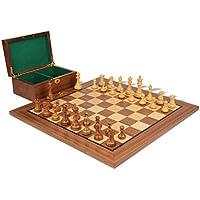 British Stauntonチェスセットin Goldenローズウッド& Boxwood withウォールナットボード&ボックス – 3.5