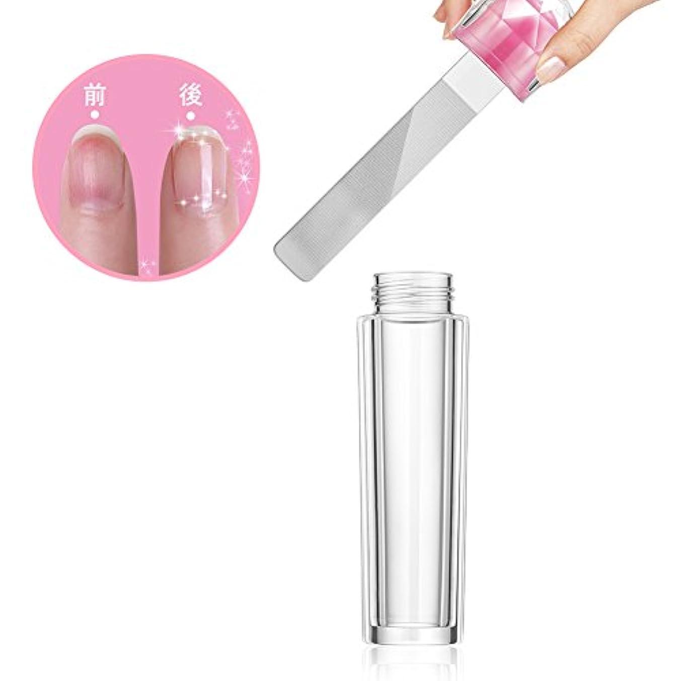 ソース実際石膏ガラス製 爪やすり 爪磨き ネイルケア ケース付き ネイルシャイナー ネイルケア (1個) (1個)