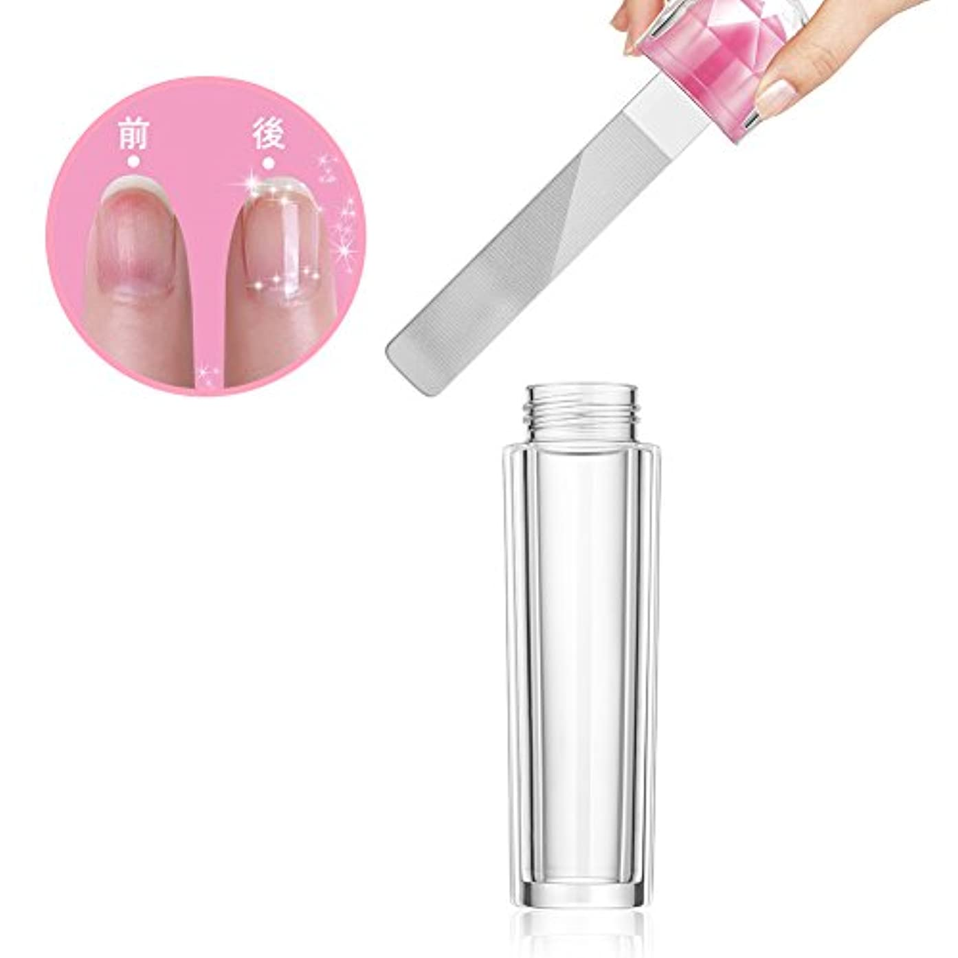 光沢主流ミュートガラス製 爪やすり 爪磨き ネイルケア ケース付き ネイルシャイナー ネイルケア (1個) (1個)