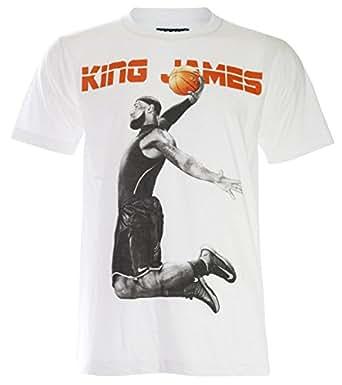 (パラス)PALLAS Lebron James Basketball Sport Graphic Art T-Shirt (M, White)