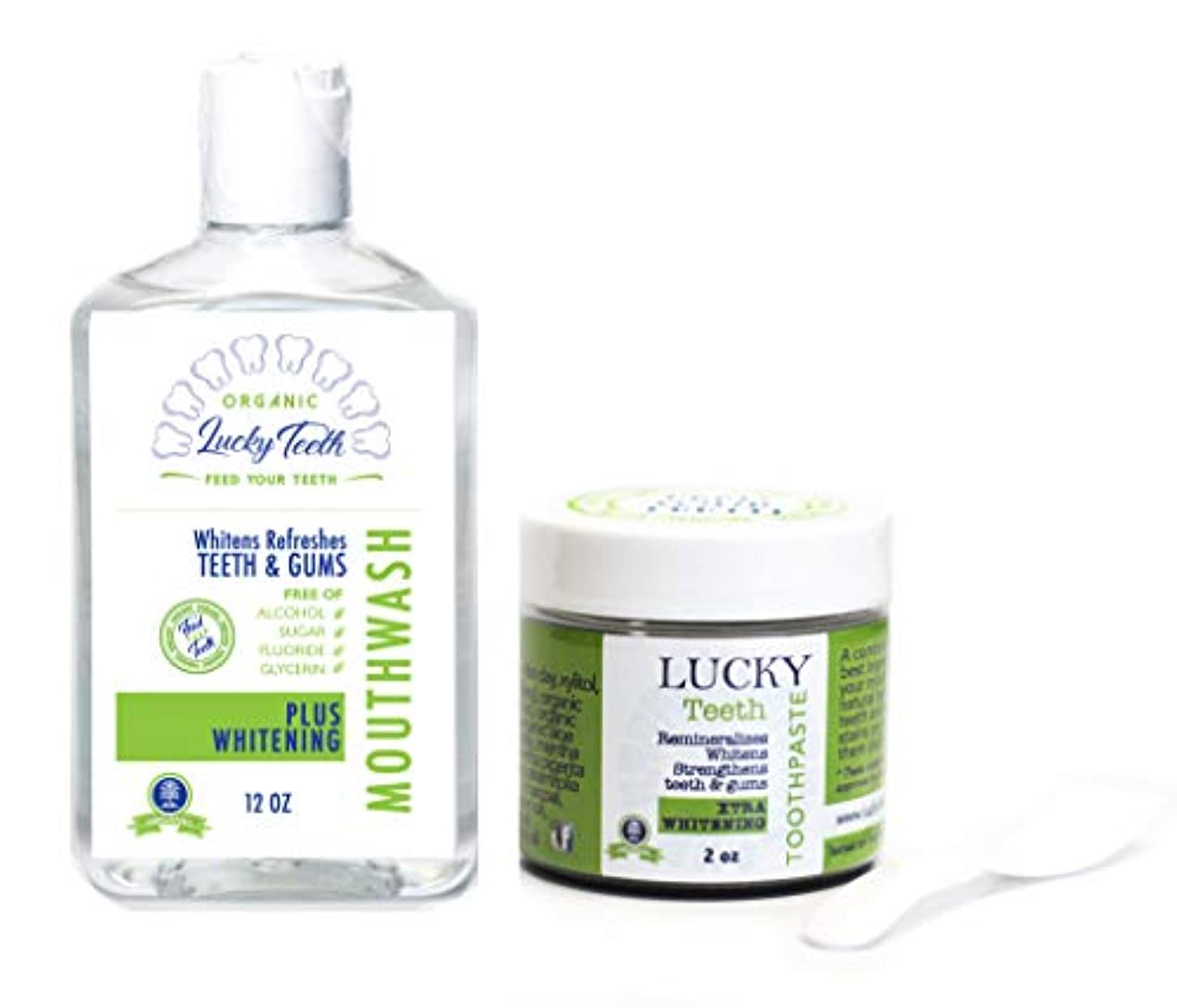 Lucky Teeth Organic Oral Care - Complete PACK - Mouth Wash + Charcoal Toothpaste (XTRA Whitening) by Lucky Teeth