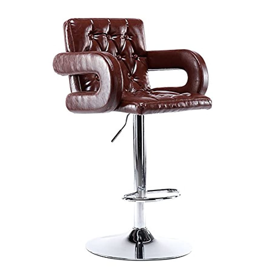 マートパシフィック砂漠毎日の家 多機能スイベルチェア、美容ローラースツール、調節可能な高さ、ホイール付き、360度回転、快適な椅子、アームレスト付き、最大荷重150kg (色 : ブラウン-2, サイズ さいず : BEST)