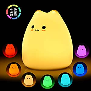 BASEIN ナイトライトled テーブルランプ ベッドサイドランプ タッチ式 七色変換/調色 安全なABS+シリコン素材 子猫型 コンパクト プレゼントに 授乳ライト 懐中電灯 常夜灯
