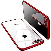 TORRAS iPhone8Plus ケース/iPhone7Plus ケース TPU 背面クリア+メッキ加工 黄変防止 ソフト (レッド)
