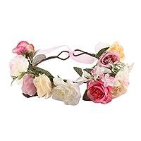 Domybest 子供 花冠 フラワーヘアバンド ヘッドドレス ヘアアクセサリー ブライダル 子供用 髪飾り 女の子 キッズ 花かんむり 結婚式 旅行