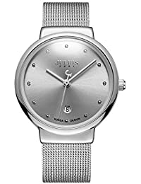 [ユリウス]JULIUS JA-426MD メンズ 腕時計 超薄型 ダイヤモンド 文字盤 ステンレス 日本製クオーツ 3気圧防水 ファッション 日付 男性 ウォッチ (シルバー)