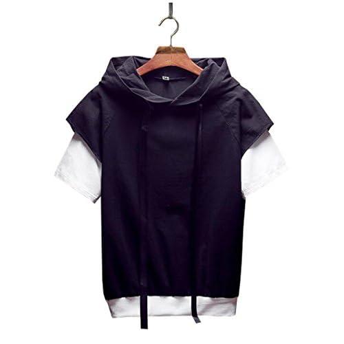 [RSWHYY] メンズ 半袖 パーカー 重ね風 フェイクレイヤード oversize 5分袖 Tシャツ 猫と蝶々 スウェット ブラック L