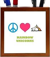 Rikki Knight Peace Love Rainbow Unicorns Design 5-Inch Tile Wooden Tile Pen Holder (RK-PH43058) [並行輸入品]