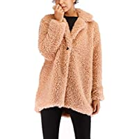 Kooosin Women's Warm Artificial Soft Wool Lapel Coat Jacket Winter Sherpa Rolls Wool Parka Outerwear