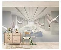 シンプルな折り鶴抽象的な空間雲3 dリビングルーム背景壁画-400X280CM