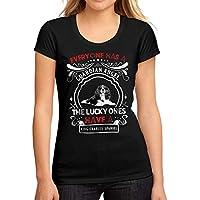 Ultrabasic Women's Low-Cut Round Neck T-Shirt Dog King Charles Spaniel Deep Black