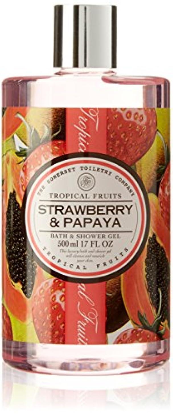 パラメータ強制的サンダースTropical Fruits Strawberry & Papaya Bath & Shower Gel 500ml