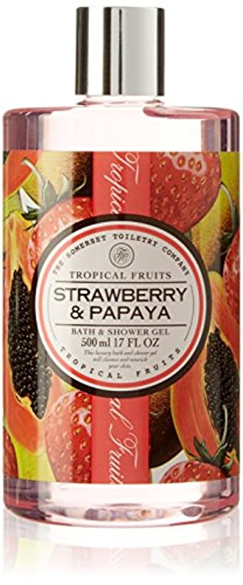 クッション苦悩部分的Tropical Fruits Strawberry & Papaya Bath & Shower Gel 500ml