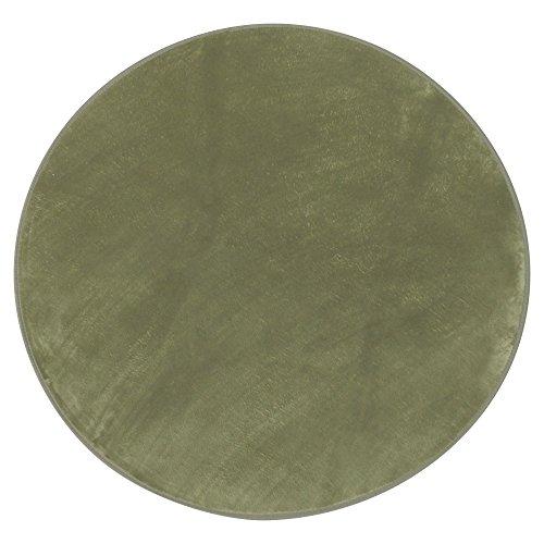心地よいサラふわ触感 ラグ カーペット 洗える フランネル 円形 140×140cm グリーン ホットカーペット対応 滑り止め付き 抗菌防臭 56296023