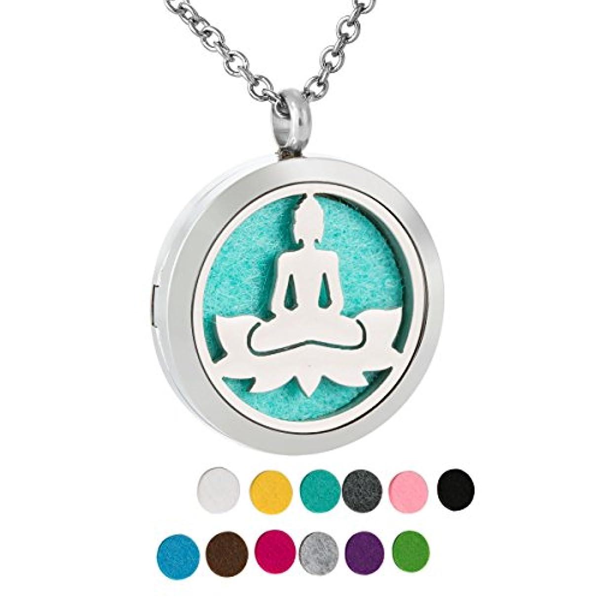 剃る誠実健康的ZARABE Aromatherapy Essential Oil Diffuser necklace-lotusロケットペンダント、12 pcカラフルRefill Pads